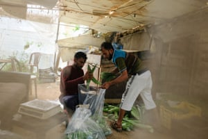 Kamal Mia and Srisu Basha packing vegetables