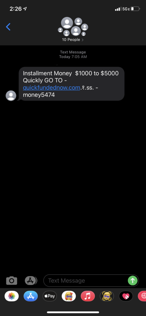 A screenshot of a smishing money scam